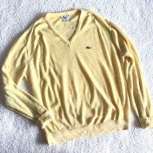 Vintage 80s Lacoste Izod V Neck Yellow Sweater K